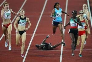 fallen runner